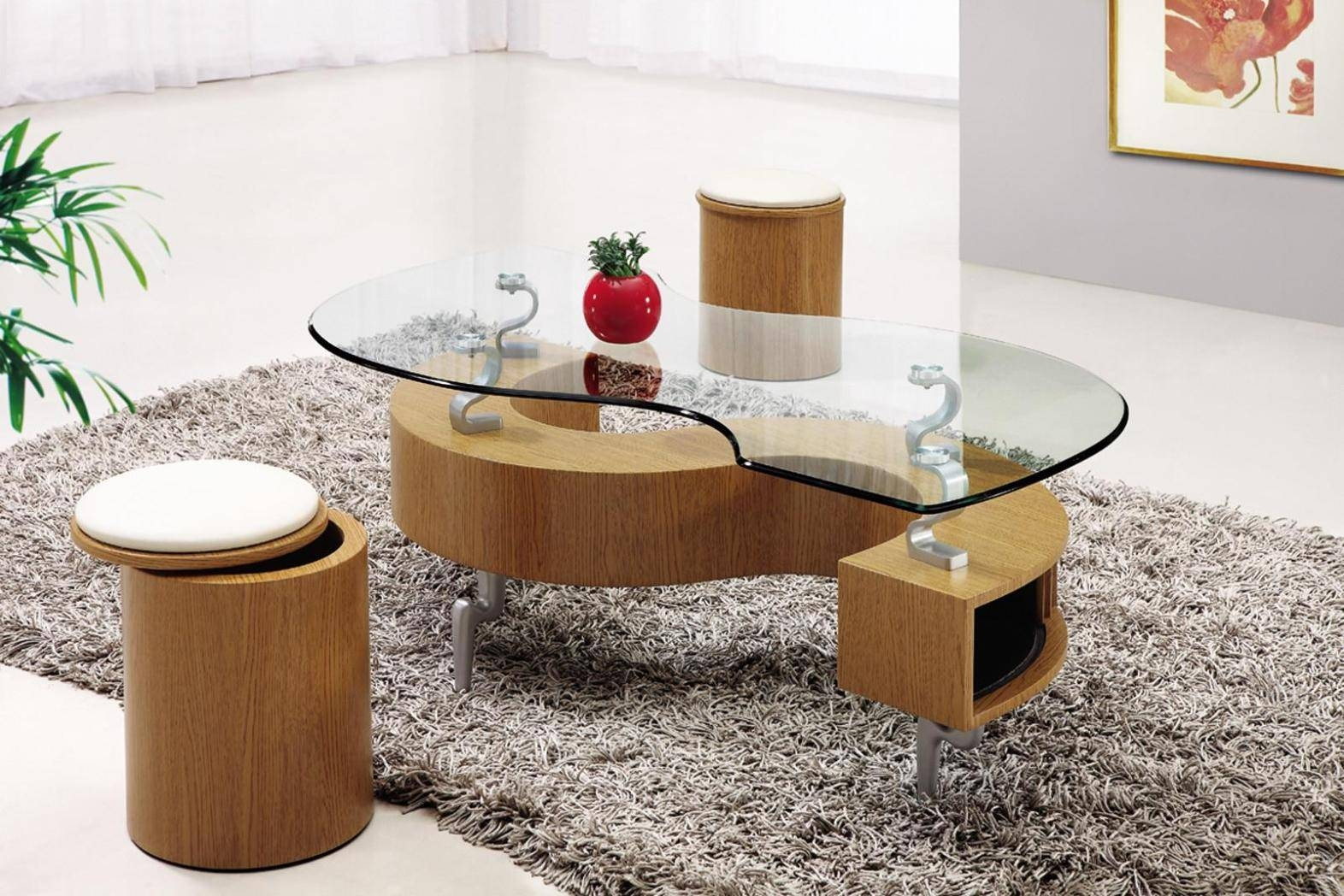Coffee Table: Stylish Coffee Table With Stools Underneath Ideas Throughout Coffee Table With Stools (View 8 of 30)