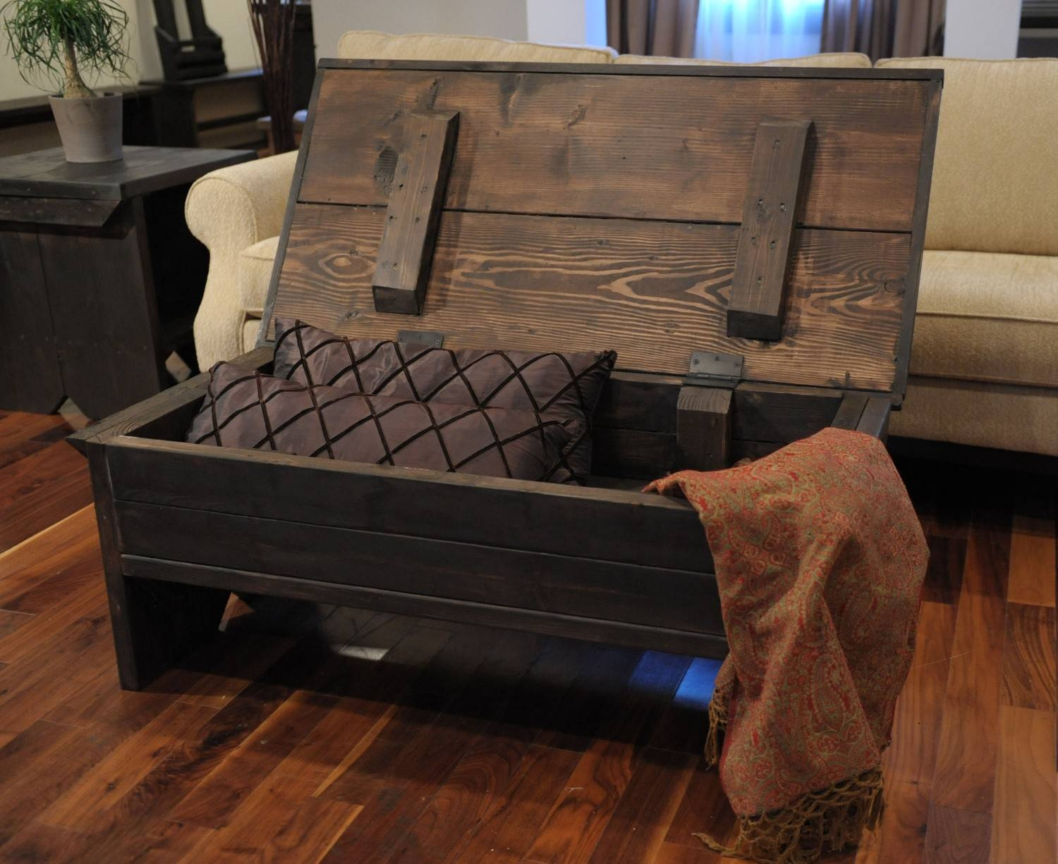 Coffee Table: Terrific Storage Chest Coffee Table Design Ideas in Dark Wood Chest Coffee Tables (Image 8 of 30)