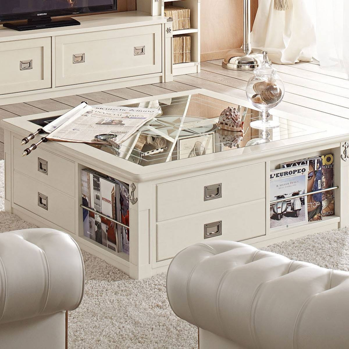 Coffee Table: Terrific White Coffee Table With Storage Ideas Sofa throughout Glass Coffee Tables With Storage (Image 17 of 30)