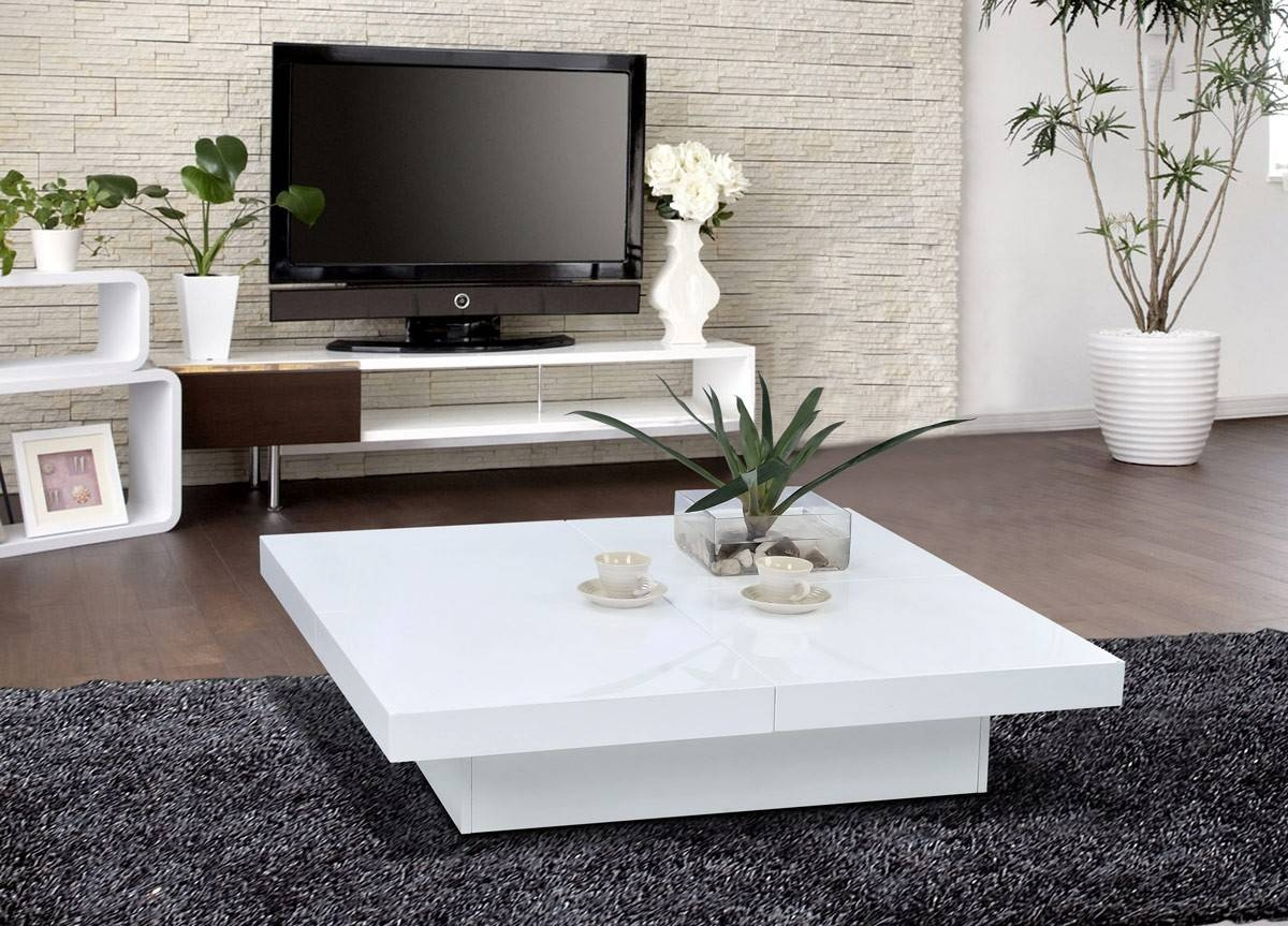 Coffee Table: Unique White Lacquer Coffee Table Design Ideas for White Square Coffee Table (Image 15 of 30)