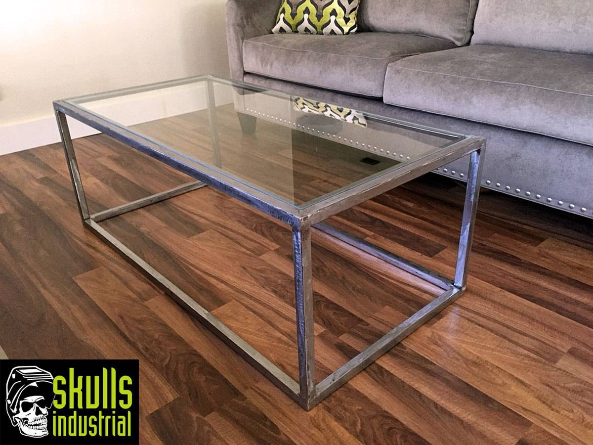 Coffee Table. Welded Steel With Glass Top (View 4 of 30)