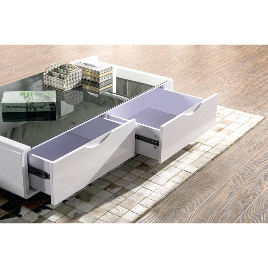 Coffee Table :: White Gloss Black Glass Top Coffee Table - Jericho in White High Gloss Coffee Tables (Image 3 of 30)