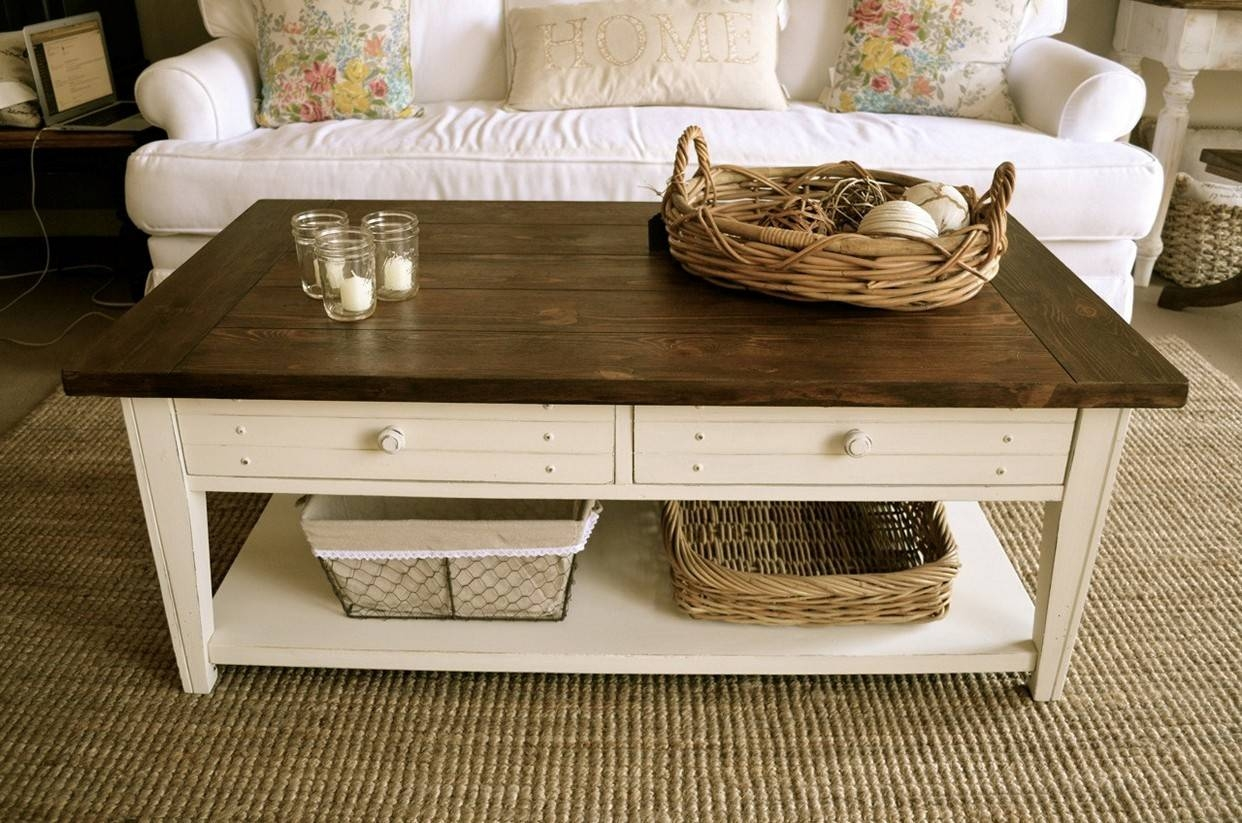 Coffee Table: White Rustic Coffee Table Inspirations Rustic Trunk with regard to White And Brown Coffee Tables (Image 8 of 30)