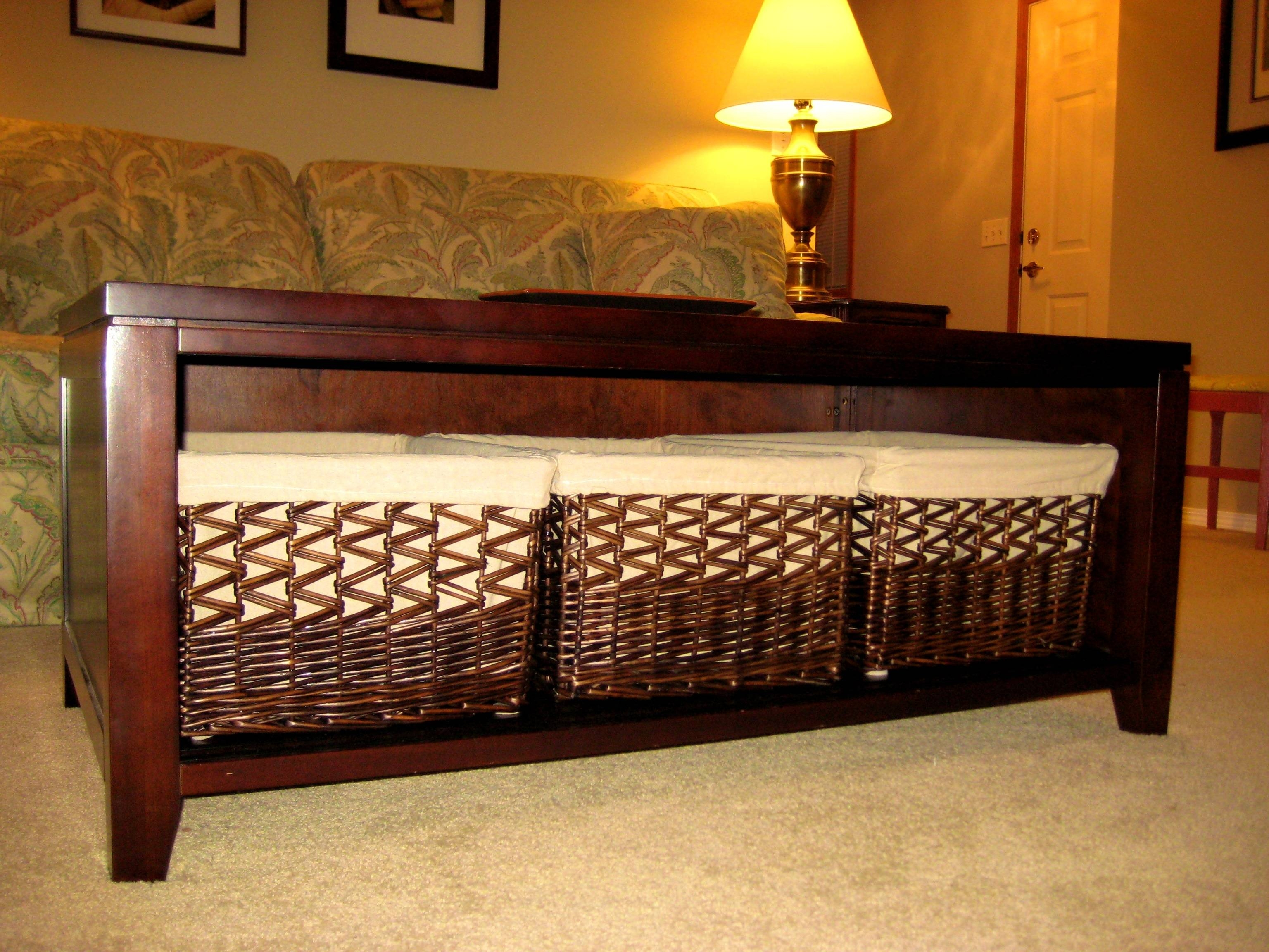 Coffee Table With Basket Storage for Coffee Table With Wicker Basket Storage (Image 5 of 30)