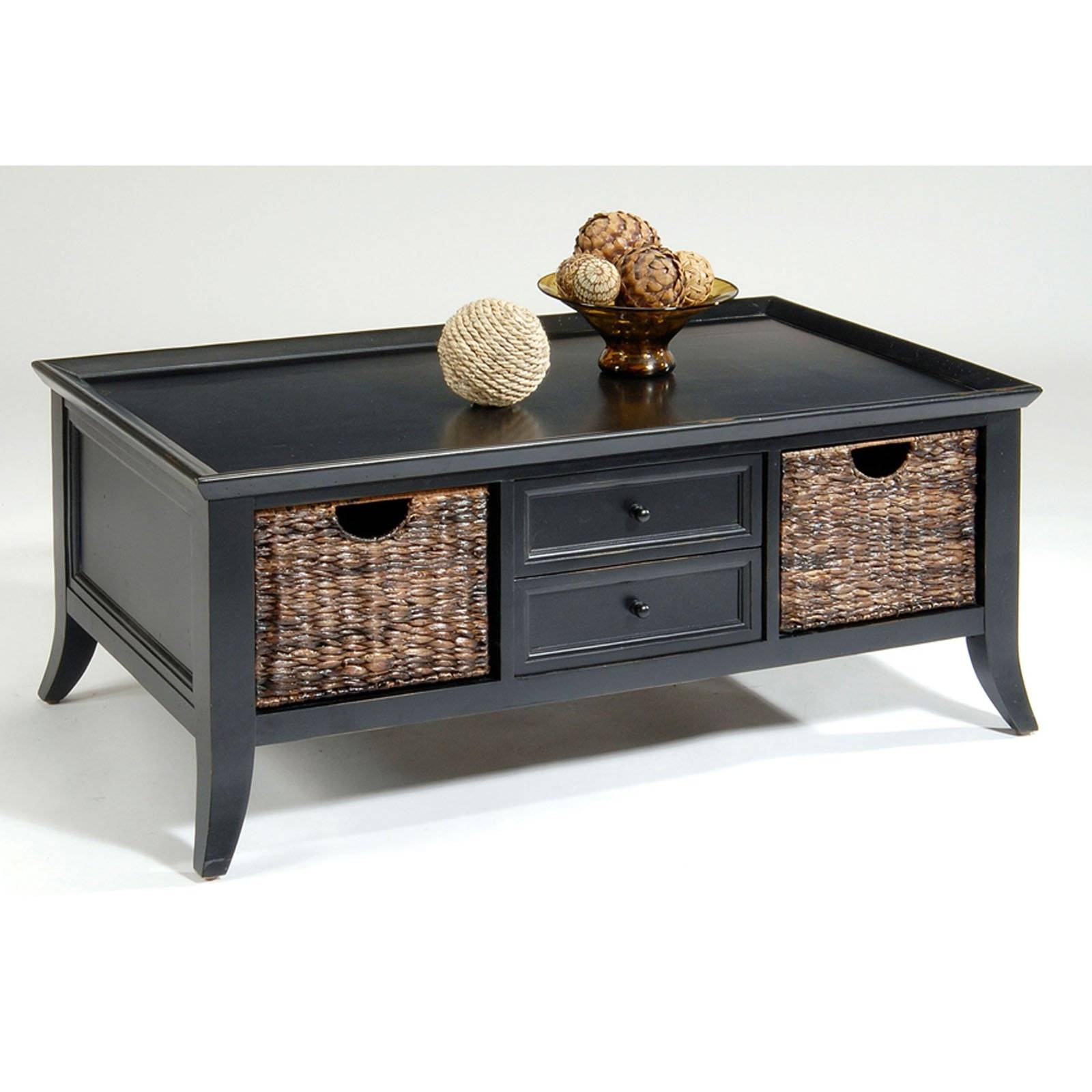Coffee Table With Baskets / Coffee Tables / Thippo regarding Coffee Tables With Baskets Underneath (Image 7 of 30)