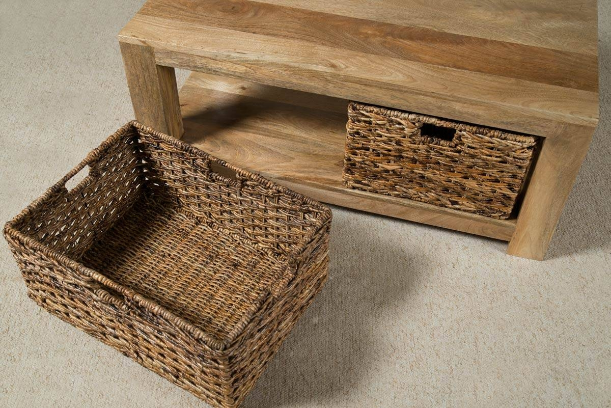 Coffee Table With Baskets / Coffee Tables / Thippo with regard to Coffee Tables With Basket Storage Underneath (Image 5 of 30)