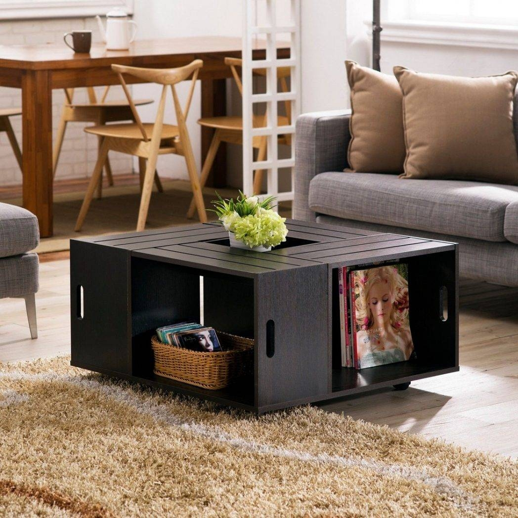 Coffee Table With Drawers Distressed Drawer Square Storage C / Thippo throughout Square Storage Coffee Tables (Image 3 of 30)