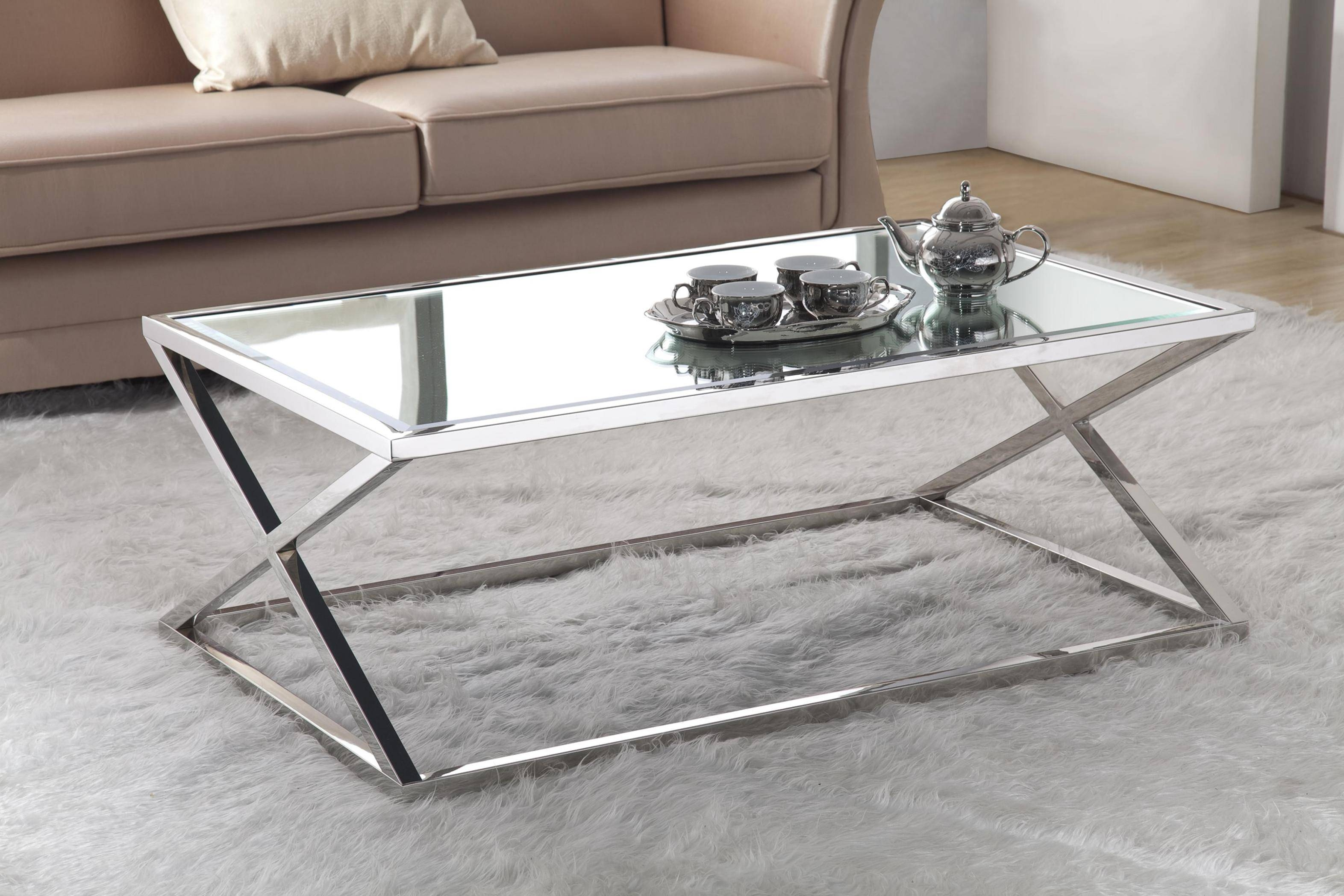 Coffee Table With Glass Top In Chrome Finish | Coffee Tables Intended For Chrome And Wood Coffee Tables (View 8 of 30)