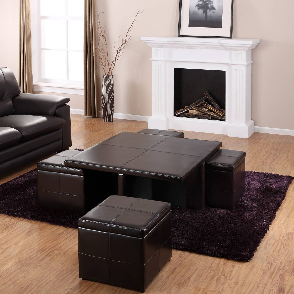 Coffee Table With Ottomans Underneath Decofurnish Intended For Purple  Ottoman Coffee Tables (Photo 3 Of