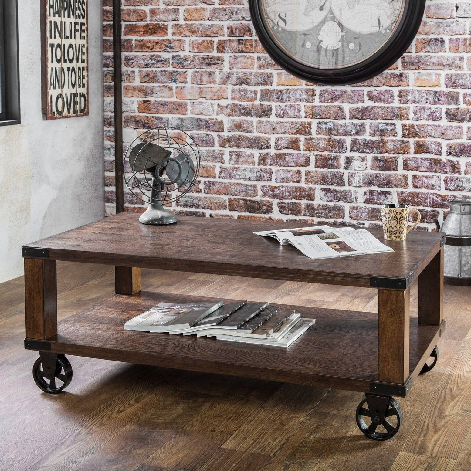 Coffee Table With Wheels And Storage | Coffee Tables Decoration pertaining to Wheels Coffee Tables (Image 3 of 30)