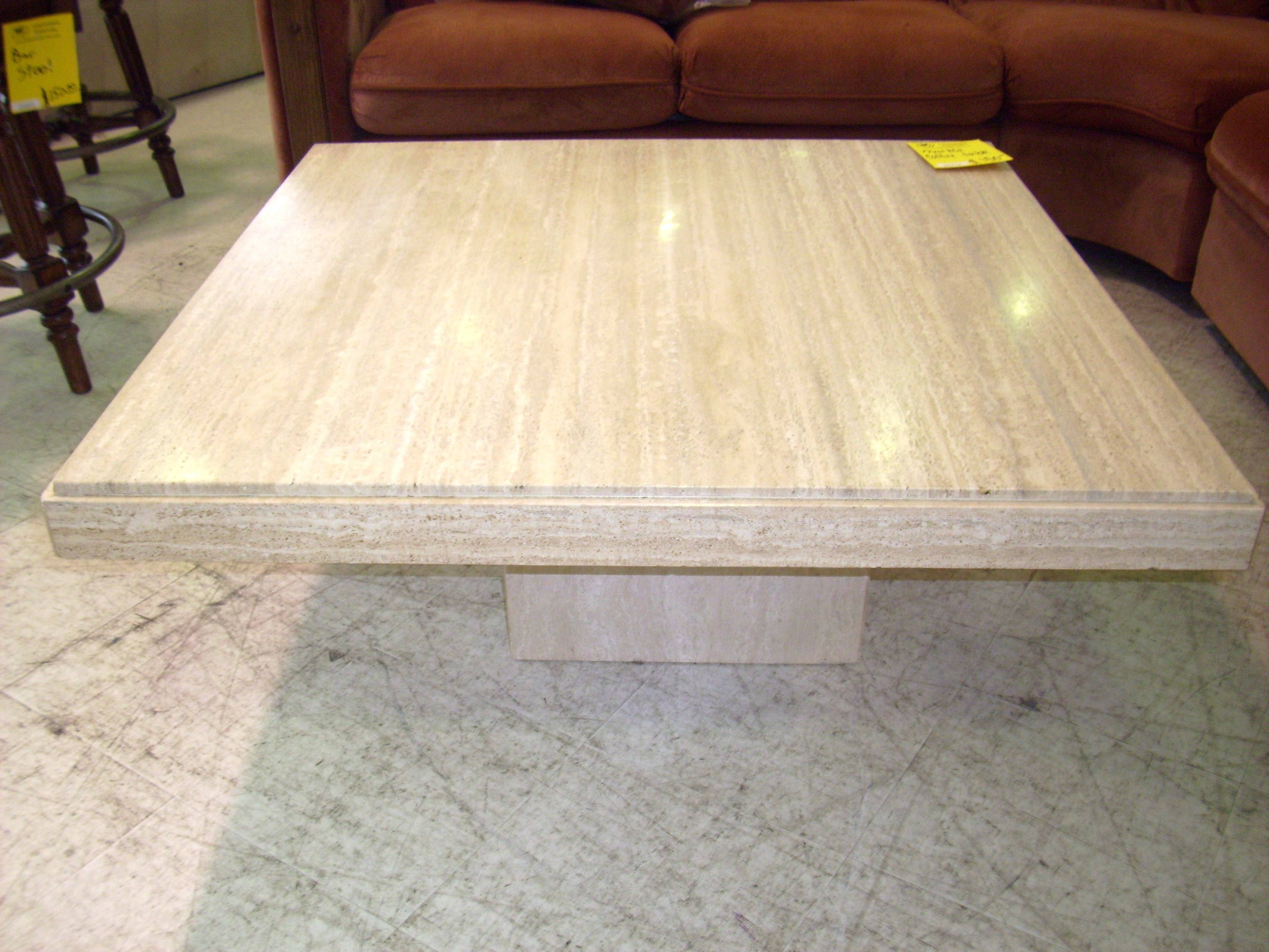 Coffee Table: Wonderful Square Marble Coffee Table Set Marble Intended For Cream Coffee Tables With Drawers (View 7 of 25)