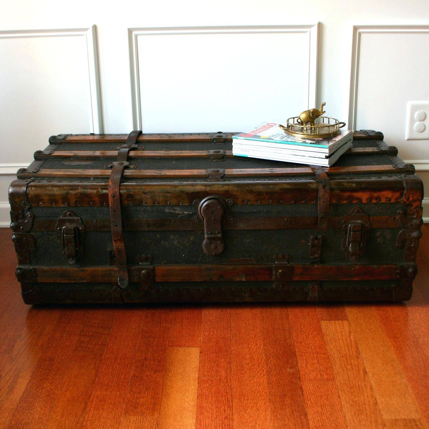 Coffee Table ~ Zoomlarge Square Storage Chest Trunk Wood Box intended for Square Chest Coffee Tables (Image 2 of 30)