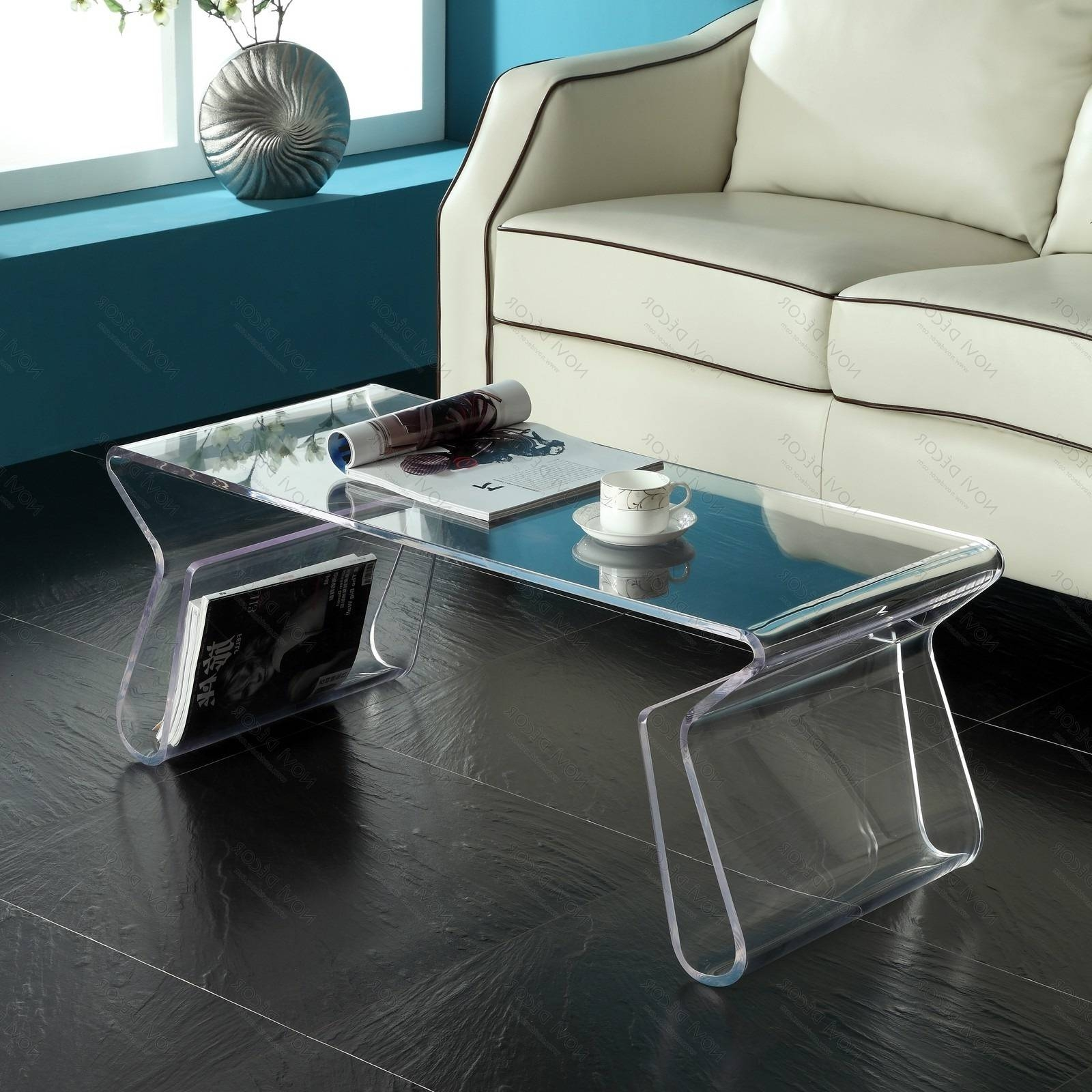 Coffee Tables : Acrylic Coffee Table Tobeknown Acrylic Cube Table with regard to Acrylic Coffee Tables With Magazine Rack (Image 13 of 30)