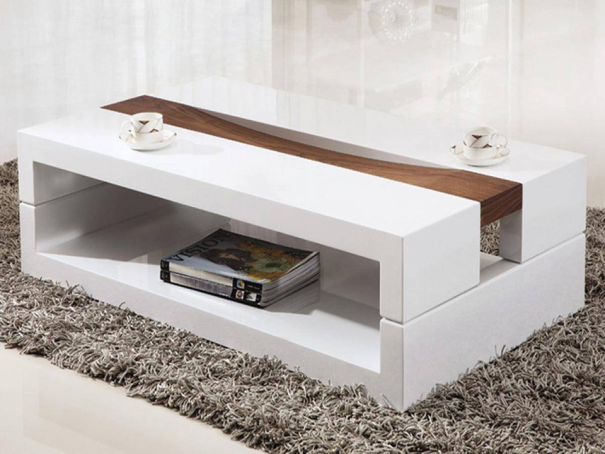 Coffee Tables: Appealing Coffee Tables Modern Designs Round Modern inside White Wood and Glass Coffee Tables (Image 13 of 30)