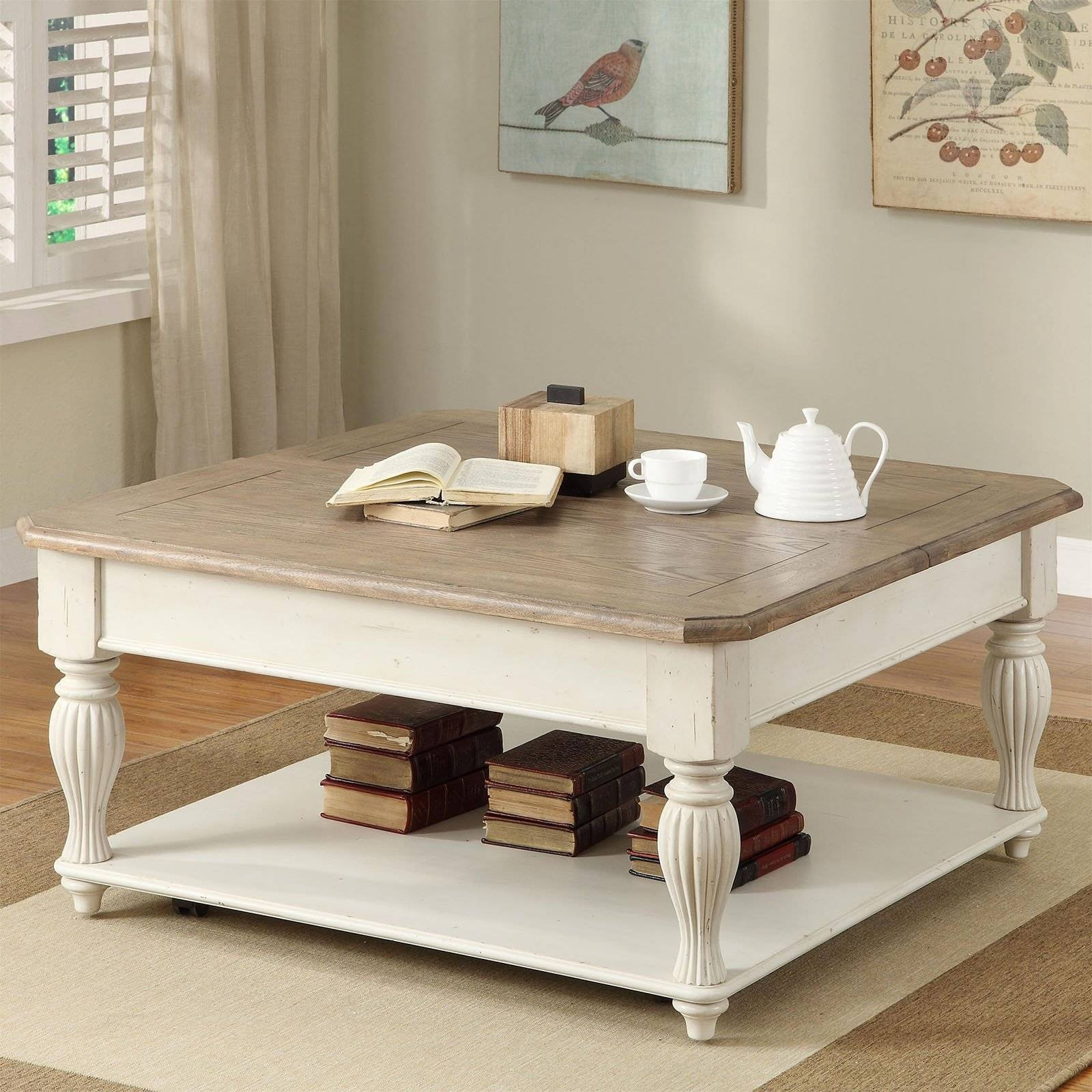 "Coffee Tables: Charming Square Coffee Tables Ideas 48"" Square with French White Coffee Tables (Image 14 of 30)"