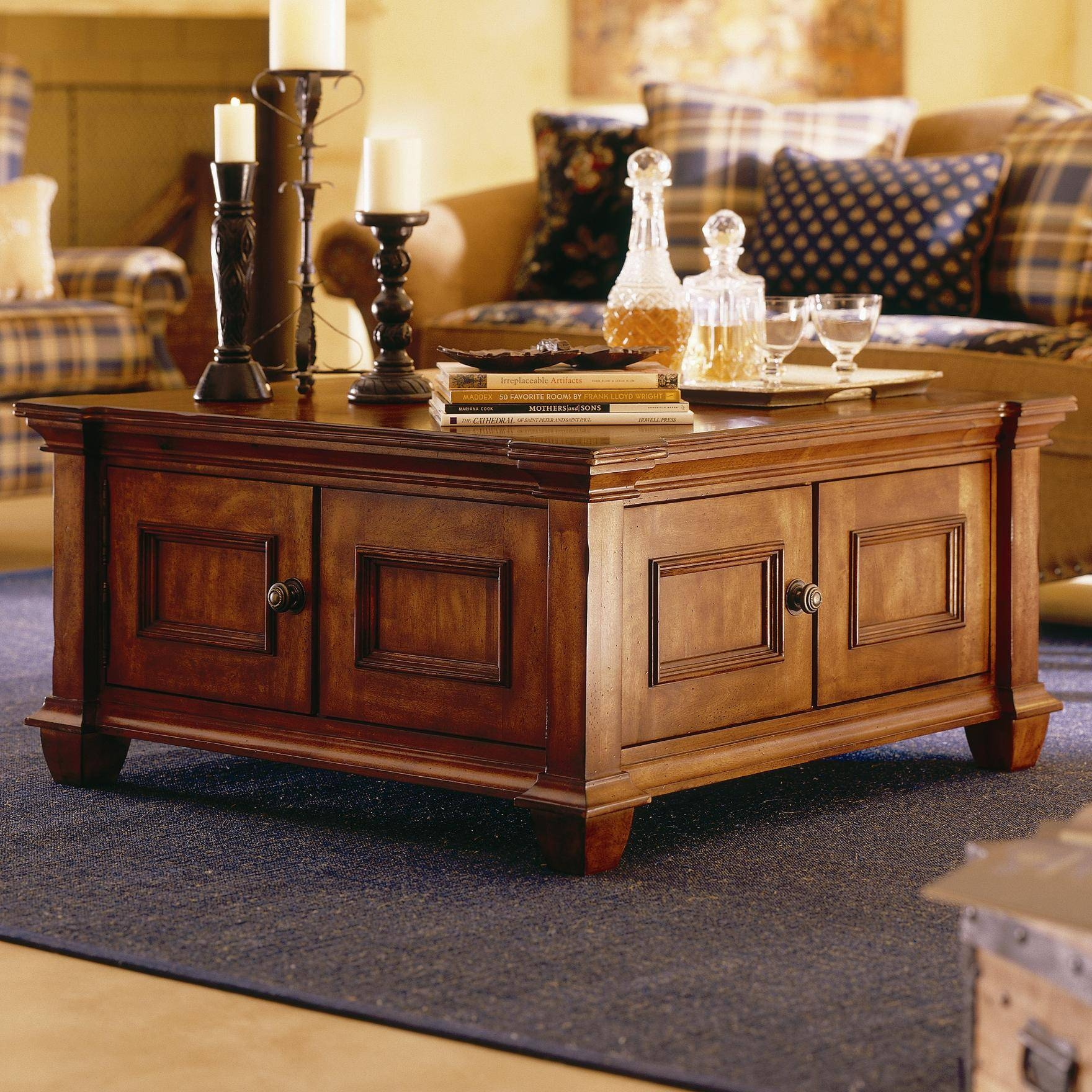 Coffee Tables: Cool Coffee Tables With Storage Ideas Distressed inside Hardwood Coffee Tables With Storage (Image 8 of 30)