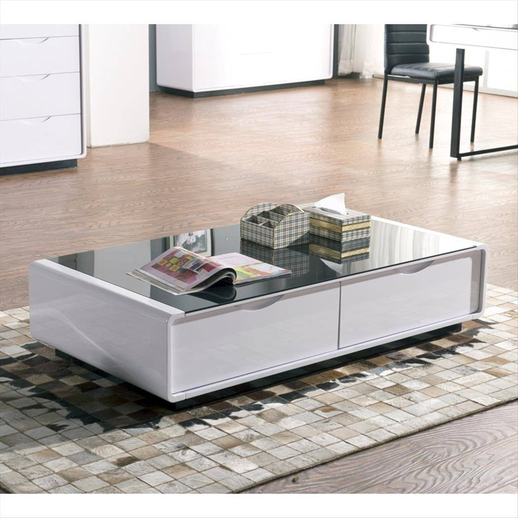 Coffee Tables Designs: Remarkable White Glass Coffee Table Design with regard to White Wood and Glass Coffee Tables (Image 11 of 30)
