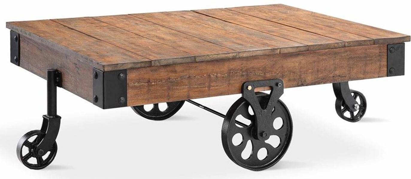 Coffee Tables Ideas: Rural Traditional Coffee Table With Wheels intended for High Quality Coffee Tables (Image 7 of 30)