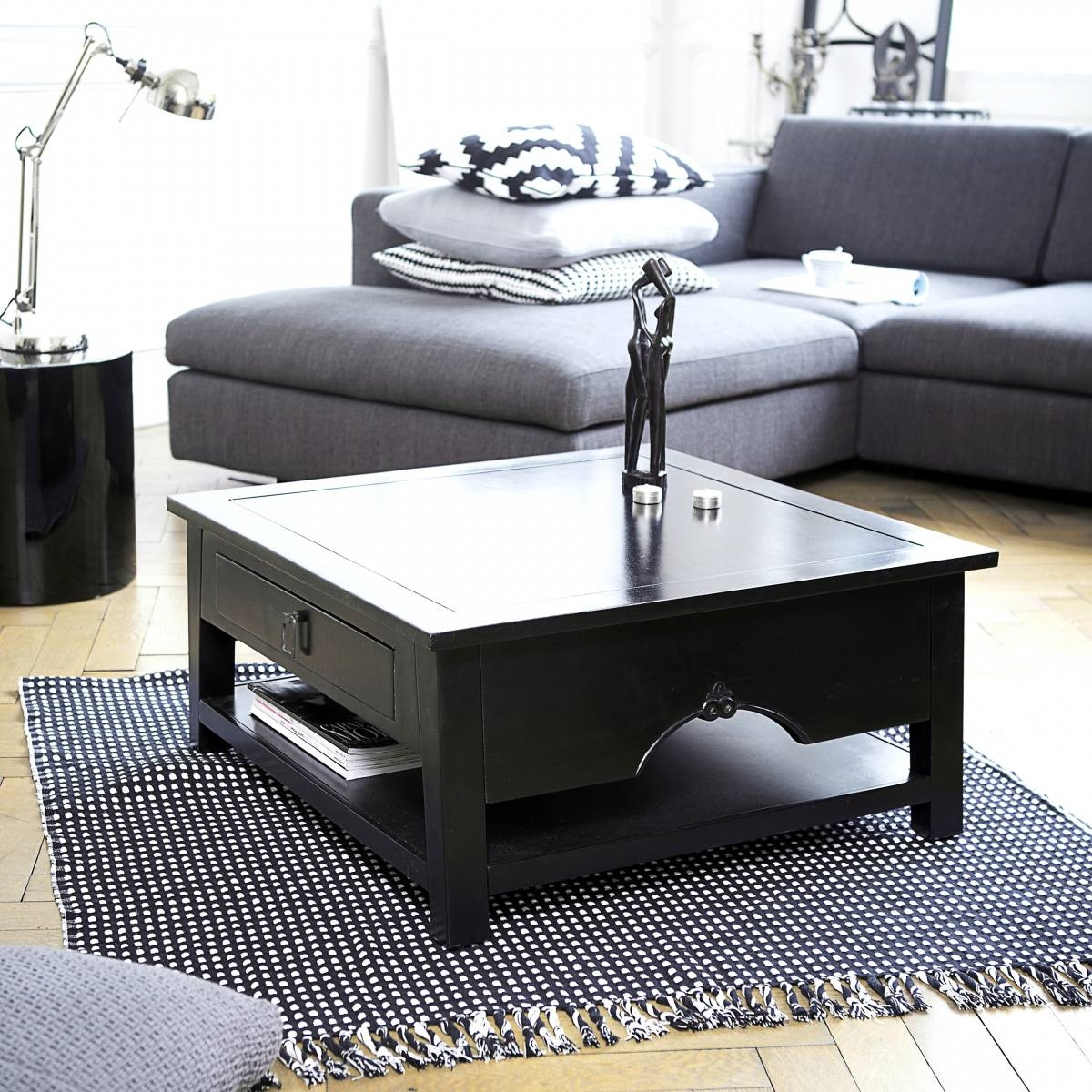 Coffee Tables: Latest Black Coffee Tables Ideas Rustic Black intended for Square Black Coffee Tables (Image 16 of 30)