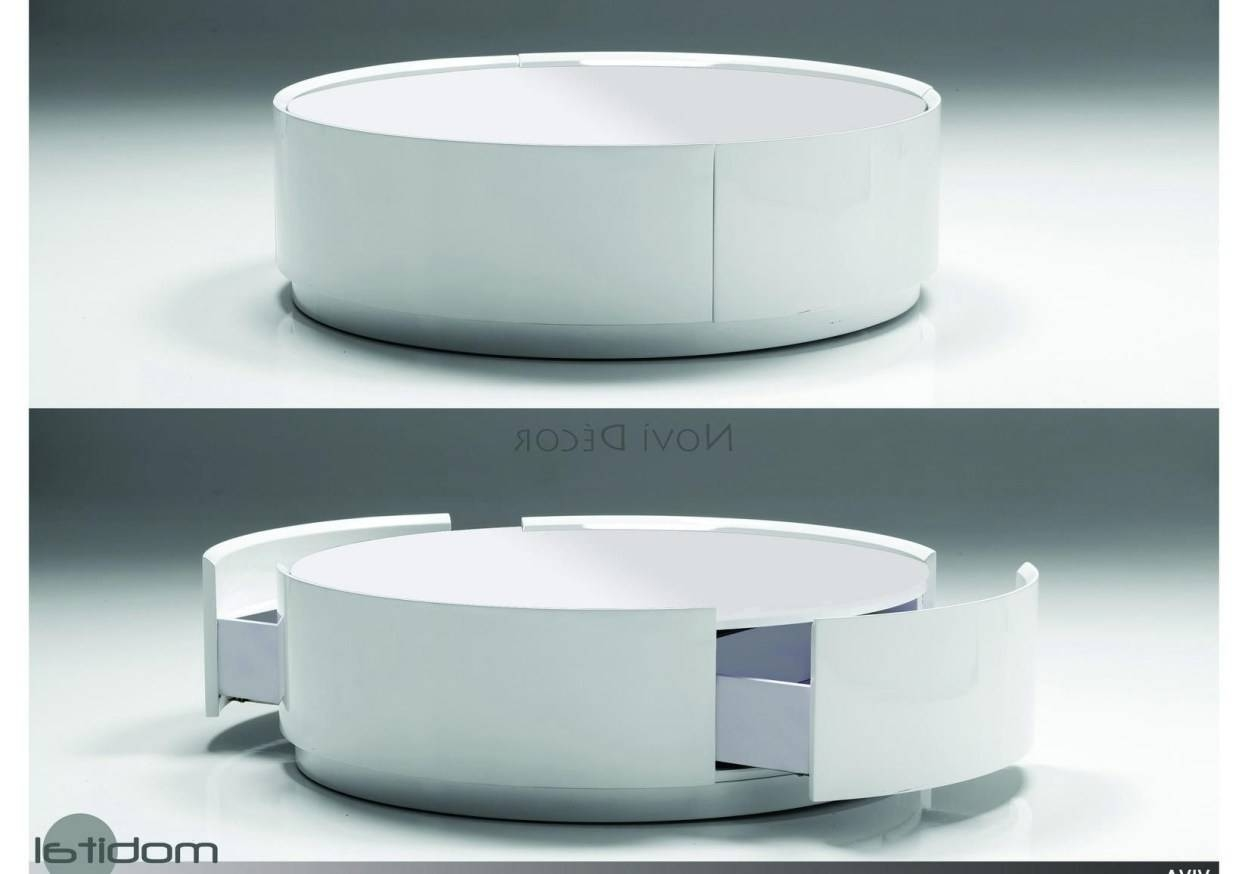 Coffee Tables : Round Coffee Table Ottoman Eye-Catching' Gorgeous pertaining to Round Coffee Table Storages (Image 10 of 30)