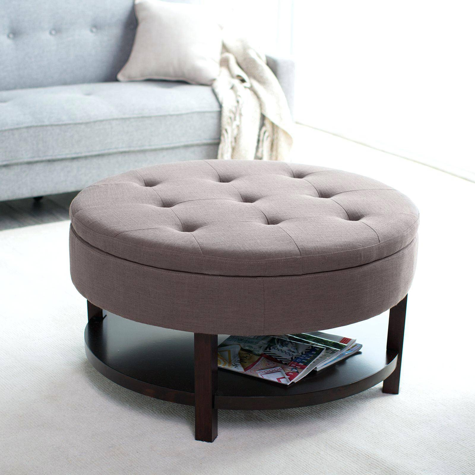Coffee Tables Storage Circular Table With A Wire Box   Jericho In Round Coffee Tables With Storages (Photo 17 of 30)