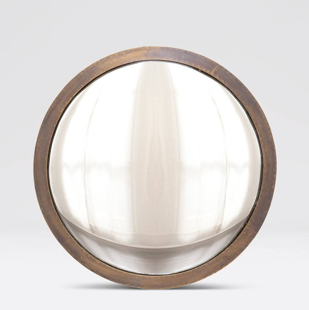 Colbert Antique Brass Convex Mirror - Mecox Gardens within Round Convex Mirrors (Image 9 of 25)
