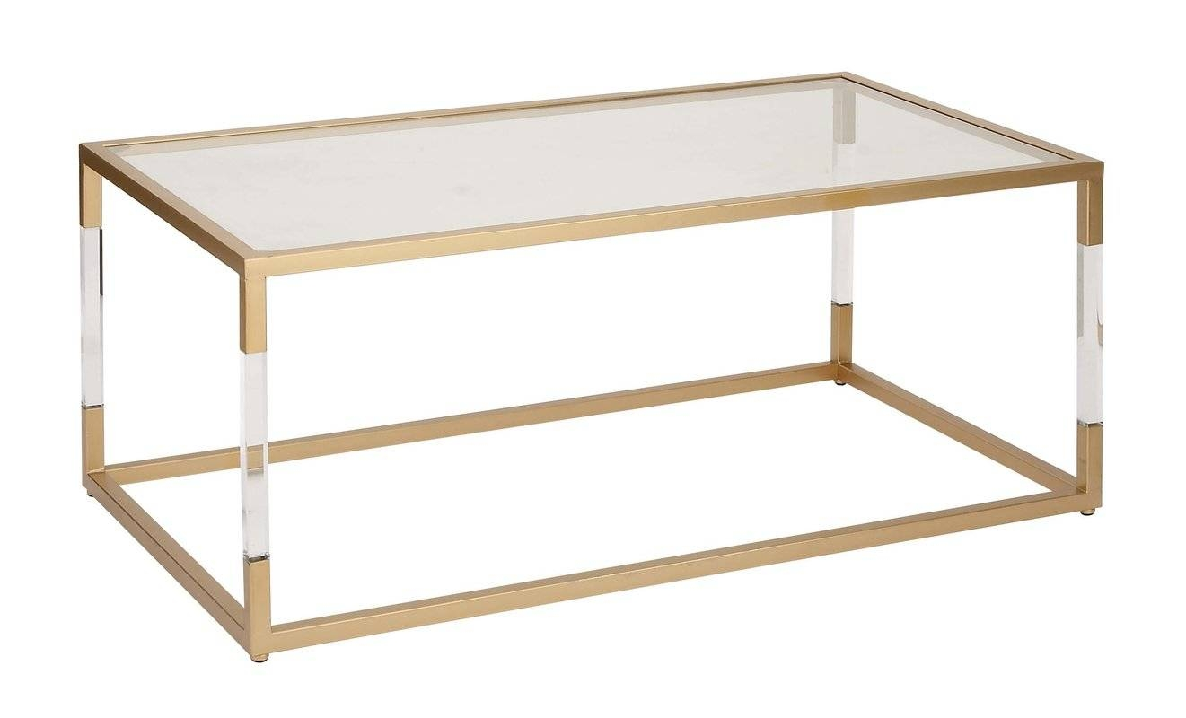 Cole & Grey Metal And Glass Acrylic Coffee Table & Reviews | Wayfair pertaining to Coffee Tables Metal and Glass (Image 15 of 30)