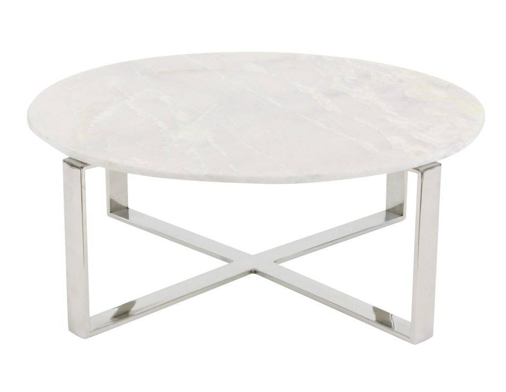 Cole & Grey Stainless Steel/marble Coffee Table & Reviews | Wayfair regarding Marble Coffee Tables (Image 11 of 30)