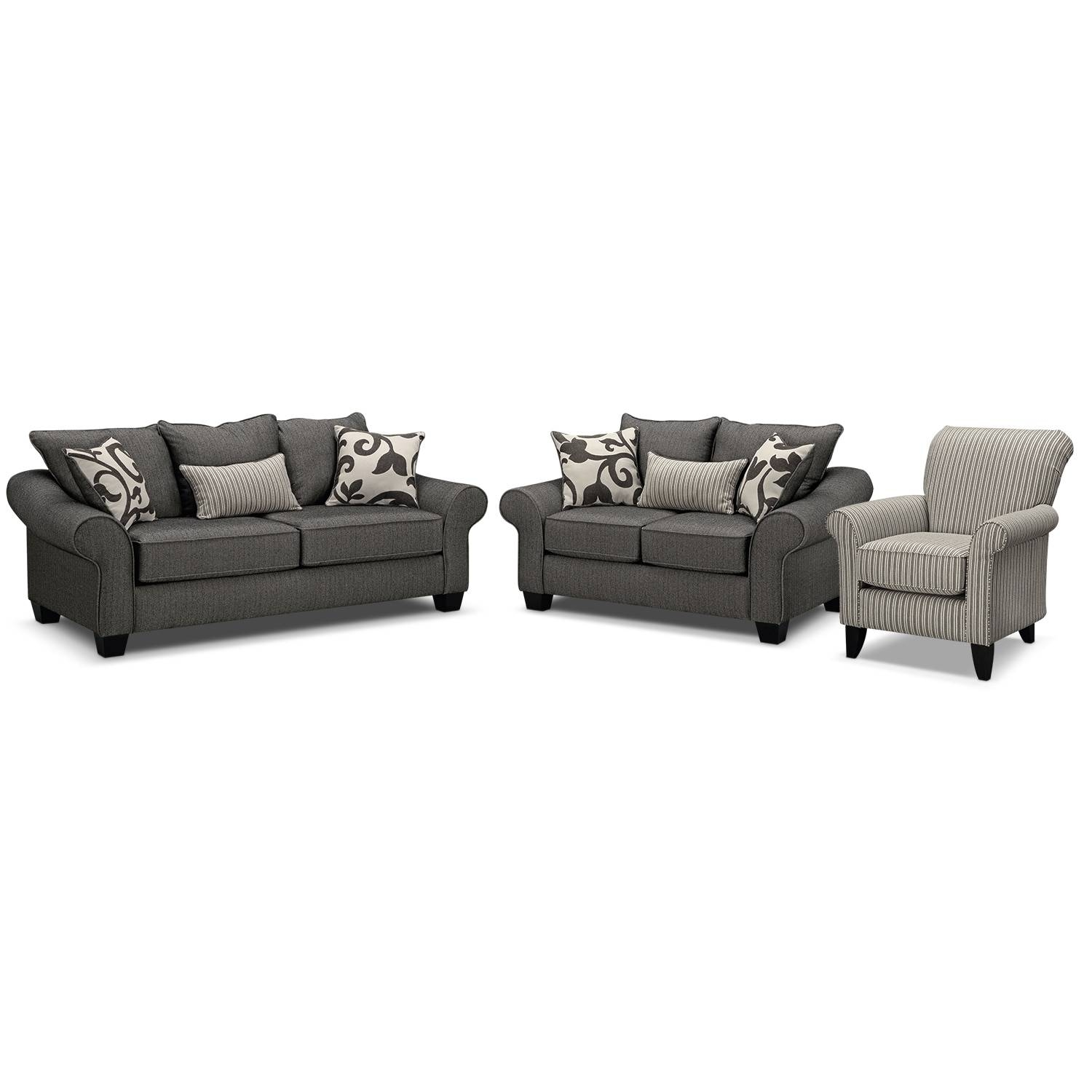 Colette Sofa And Accent Chair Set - Gray | Value City Furniture intended for Sofa and Accent Chair Set (Image 12 of 30)