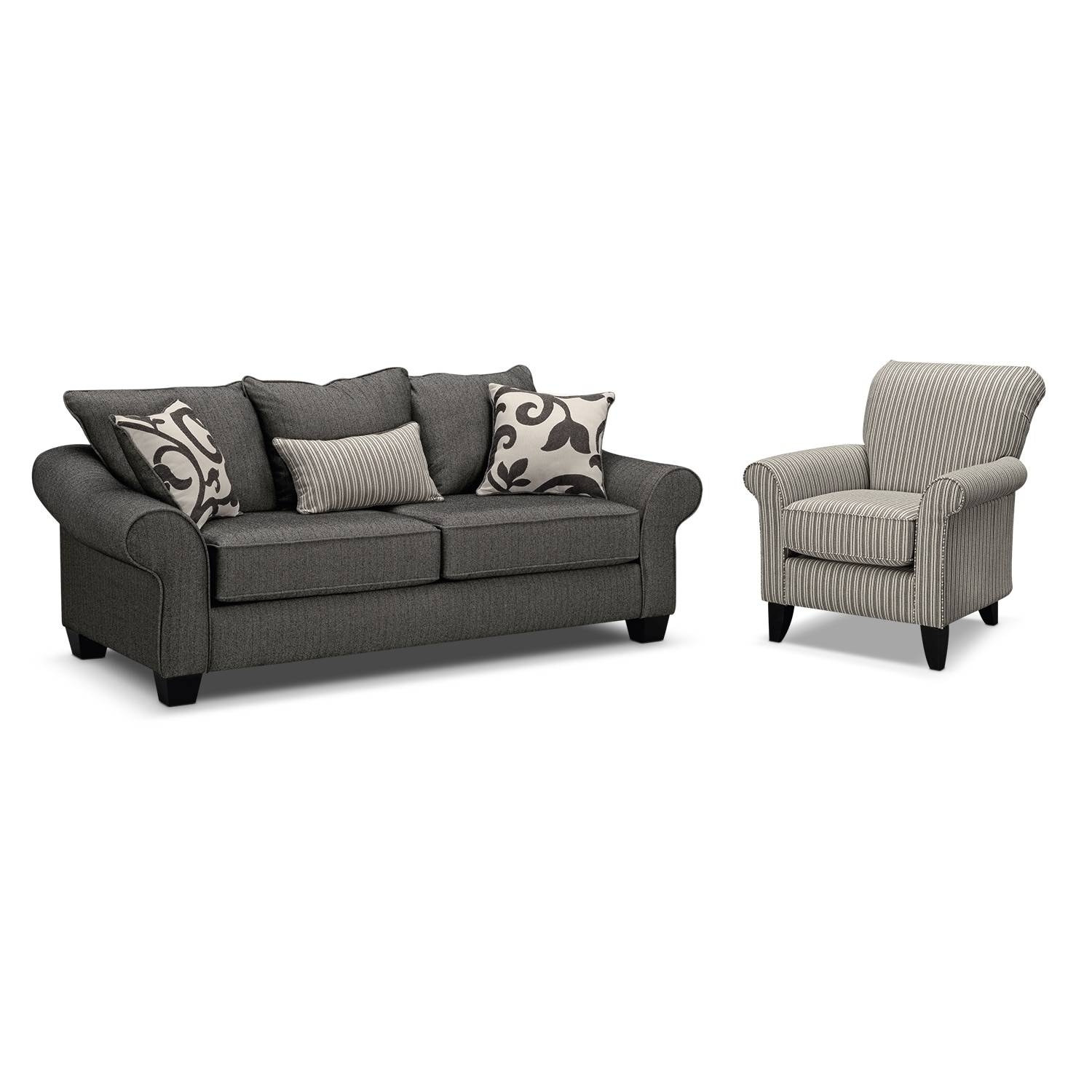 Colette Sofa And Accent Chair Set - Gray | Value City Furniture intended for Sofa And Accent Chair Set (Image 11 of 30)