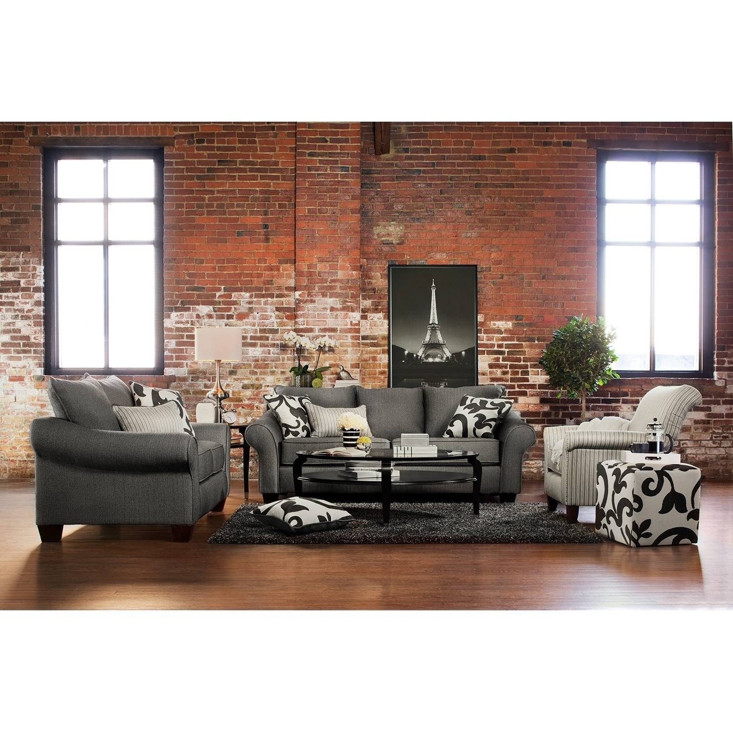 Colette Sofa And Accent Chair Set - Gray | Value City Furniture with regard to Sofa and Accent Chair Set (Image 14 of 30)