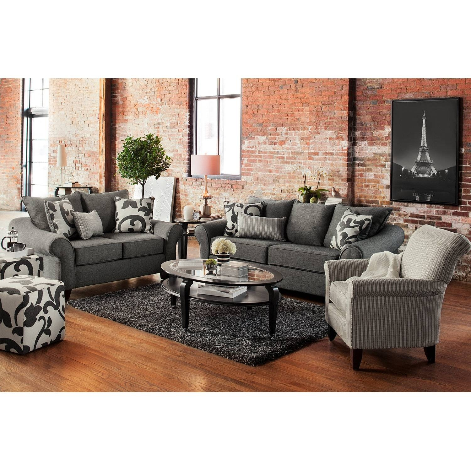 Colette Sofa, Loveseat And Accent Chair Set - Gray | American with regard to Sofa Loveseat And Chair Set (Image 11 of 30)