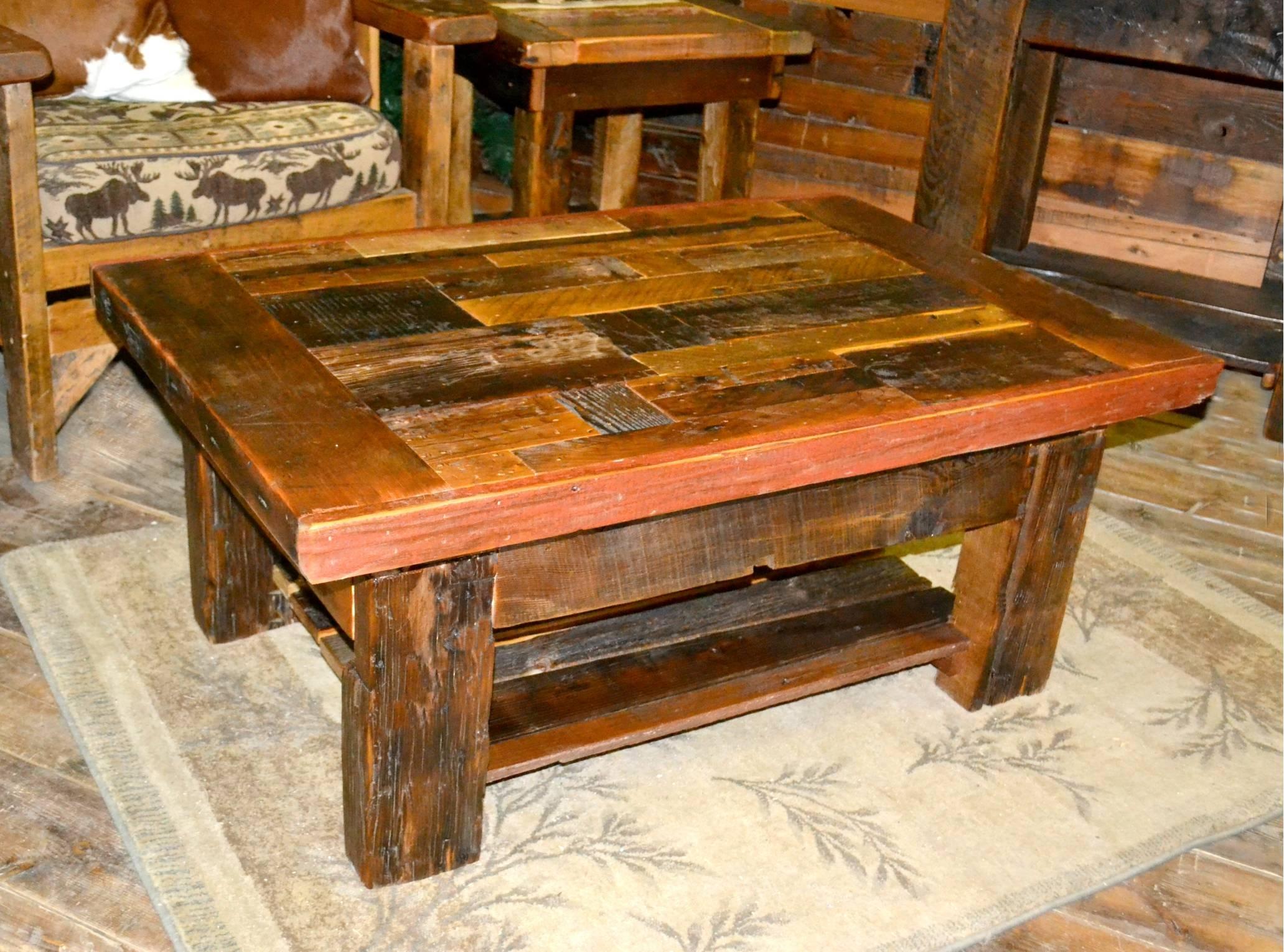 Collage Barnwood Coffee Table | Rustic Furniture Malltimber Creek with regard to Rustic Barnwood Coffee Tables (Image 9 of 30)