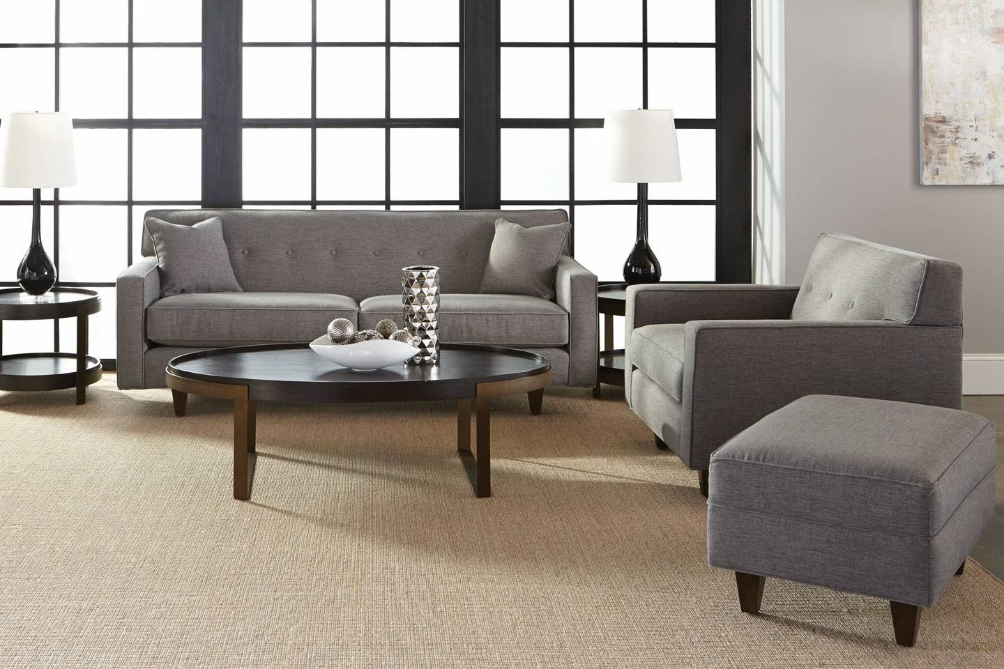 """Collection - Margo """"quick Ship"""" 3-Piece Sofa, Chair, Ottoman Set pertaining to Sofa Chair and Ottoman (Image 1 of 15)"""