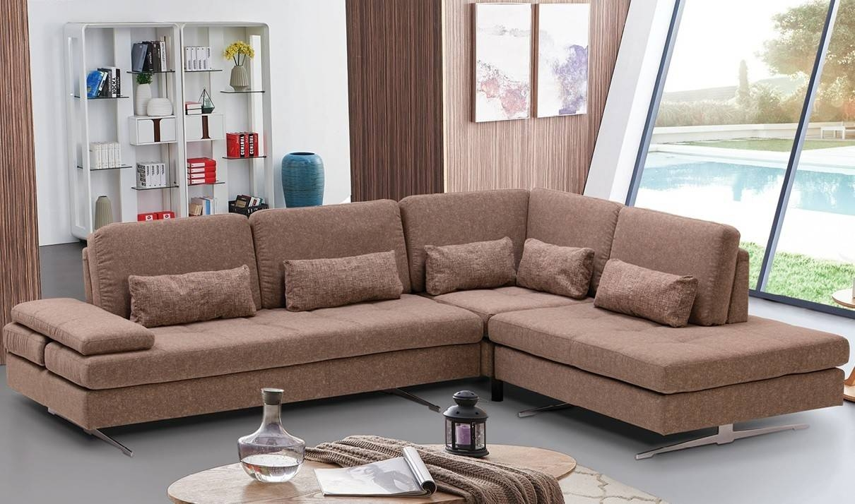 Colombo Fabric Sectional Sofa In Beige   Free Shipping   Get Furniture intended for Fabric Sectional Sofa (Image 6 of 30)