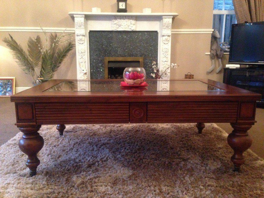 Colonial Style Coffee Table In Dark Cherry Wood With Glass Middle with Colonial Coffee Tables (Image 14 of 30)