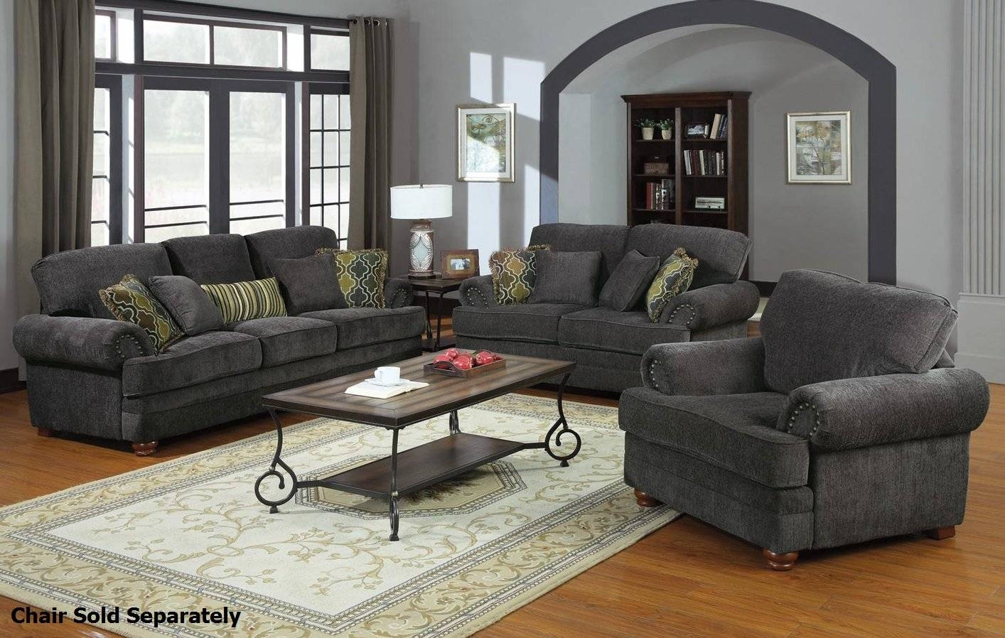 Colton Grey Fabric Sofa And Loveseat Set - Steal-A-Sofa Furniture within Sofa Loveseat and Chairs (Image 9 of 30)