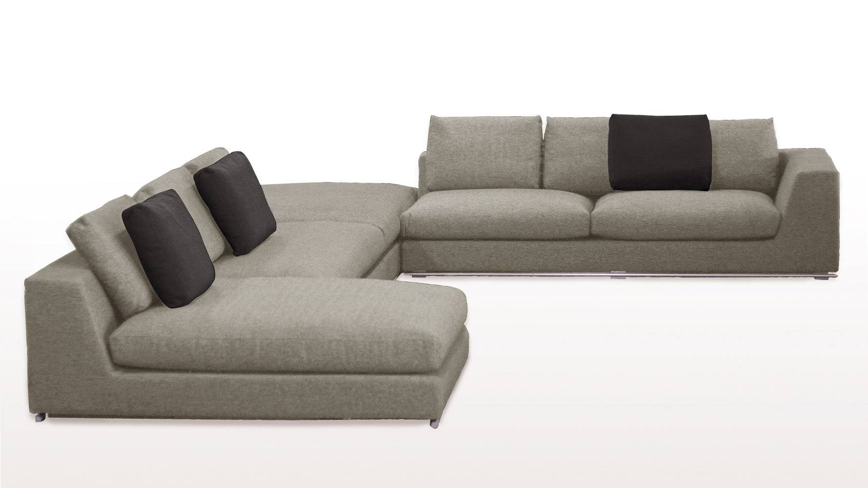 Comodo Sectional Sofa With Ottoman - Grey | Zuri Furniture throughout Goose Down Sectional Sofa (Image 2 of 25)