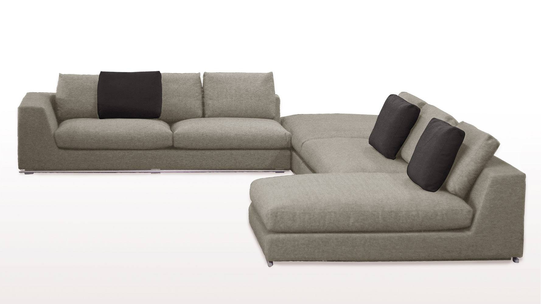 Comodo Sectional Sofa With Ottoman - Grey | Zuri Furniture throughout Sofa With Chaise and Ottoman (Image 9 of 30)