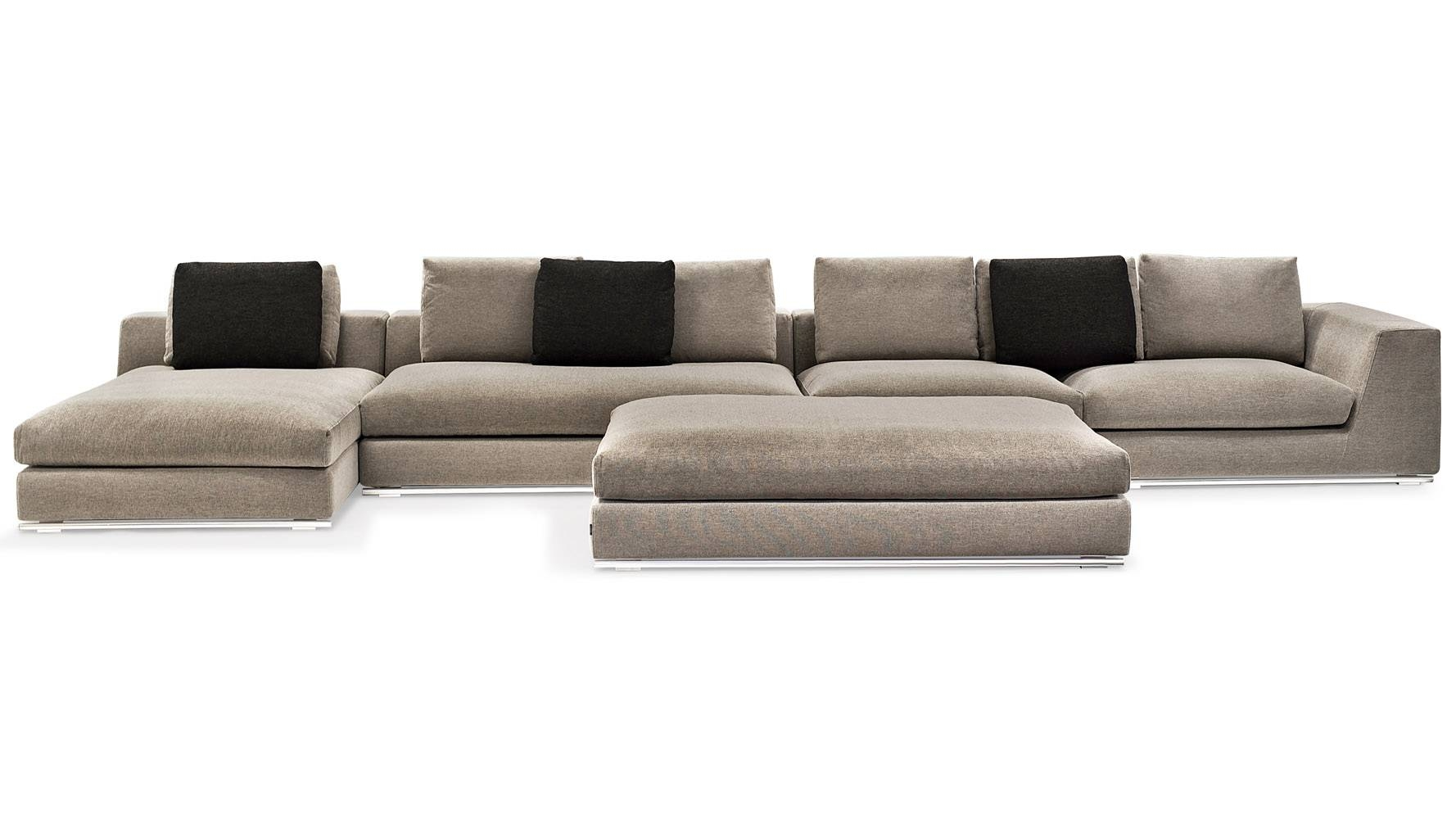 Comodo Sectional Sofa With Ottoman - Grey | Zuri Furniture with Armless Sectional Sofa (Image 9 of 30)