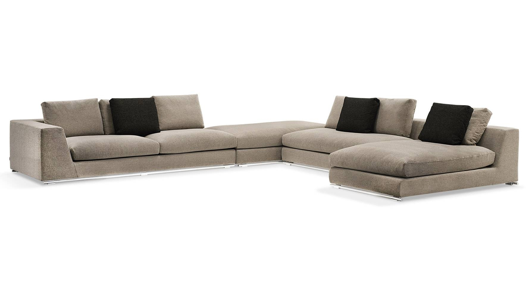 Comodo Sectional Sofa With Ottoman - Grey | Zuri Furniture with regard to Armless Sectional Sofa (Image 10 of 30)