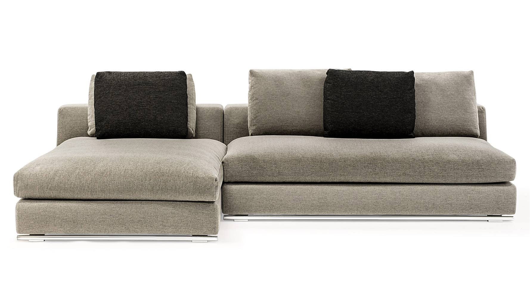 Comodo Sectional Sofa With Ottoman - Grey | Zuri Furniture within Armless Sectional Sofa (Image 11 of 30)