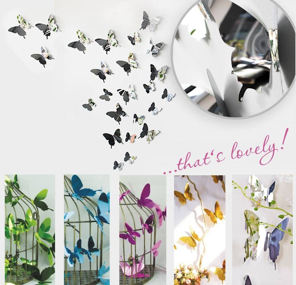 Compare Prices On Stickers Butterfly Wall Mirror- Online Shopping throughout Butterfly Wall Mirrors (Image 8 of 25)
