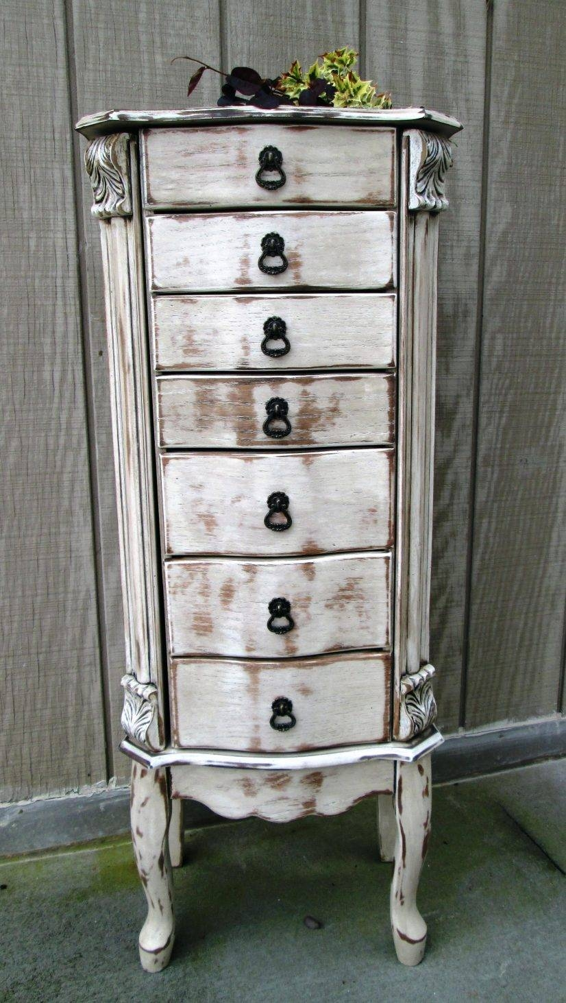 Computer Armoire Solid Wood Shabby Chic Antique White Distressed throughout Antique White Wardrobes (Image 7 of 15)