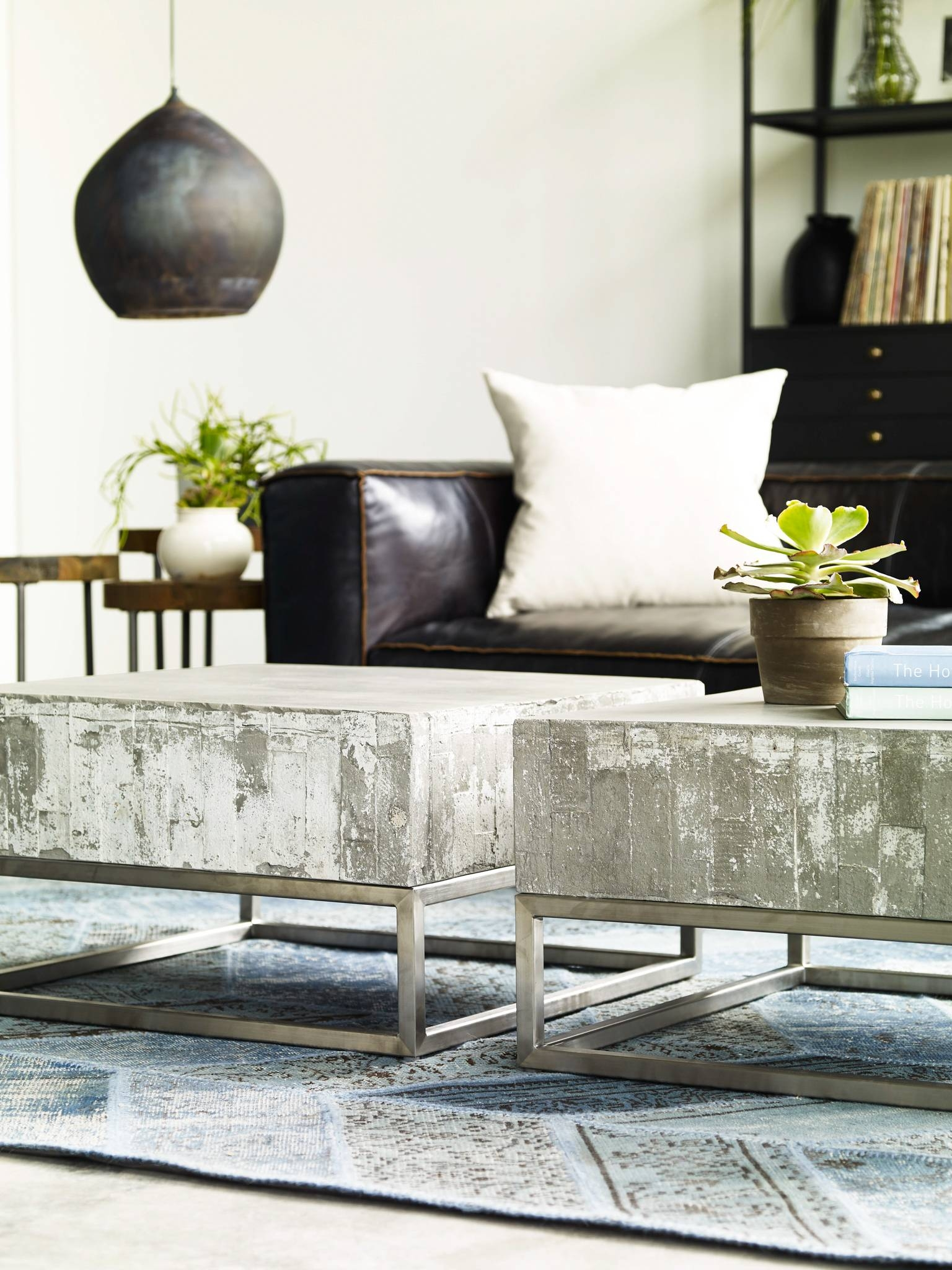 Concrete And Chrome Coffee Table | Industrial Home pertaining to Chrome Coffee Tables (Image 10 of 30)