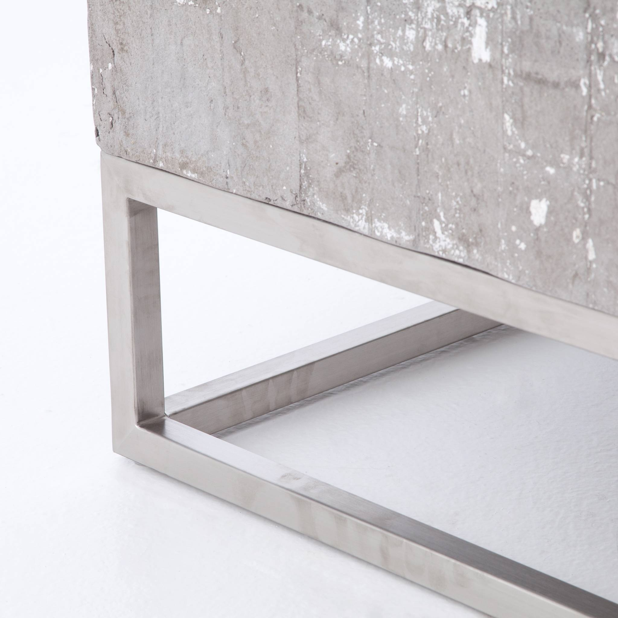 Concrete And Chrome Coffee Table | Industrial Home with Chrome Coffee Tables (Image 11 of 30)