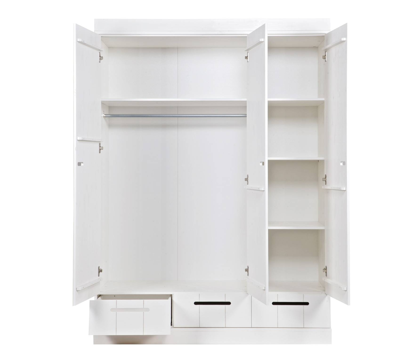 Connect 3-Door Locker Wardrobe With 3 Drawers, Standard Interior intended for 3 Door Wardrobe With Drawers And Shelves (Image 10 of 30)