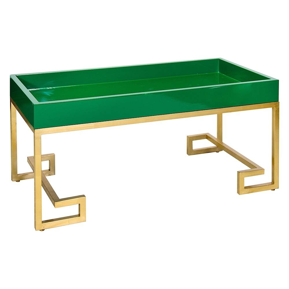 Conrad Emerald Green Lacquer Tray Coffee Table With Gold Leafed with regard to Lacquer Coffee Tables (Image 12 of 30)