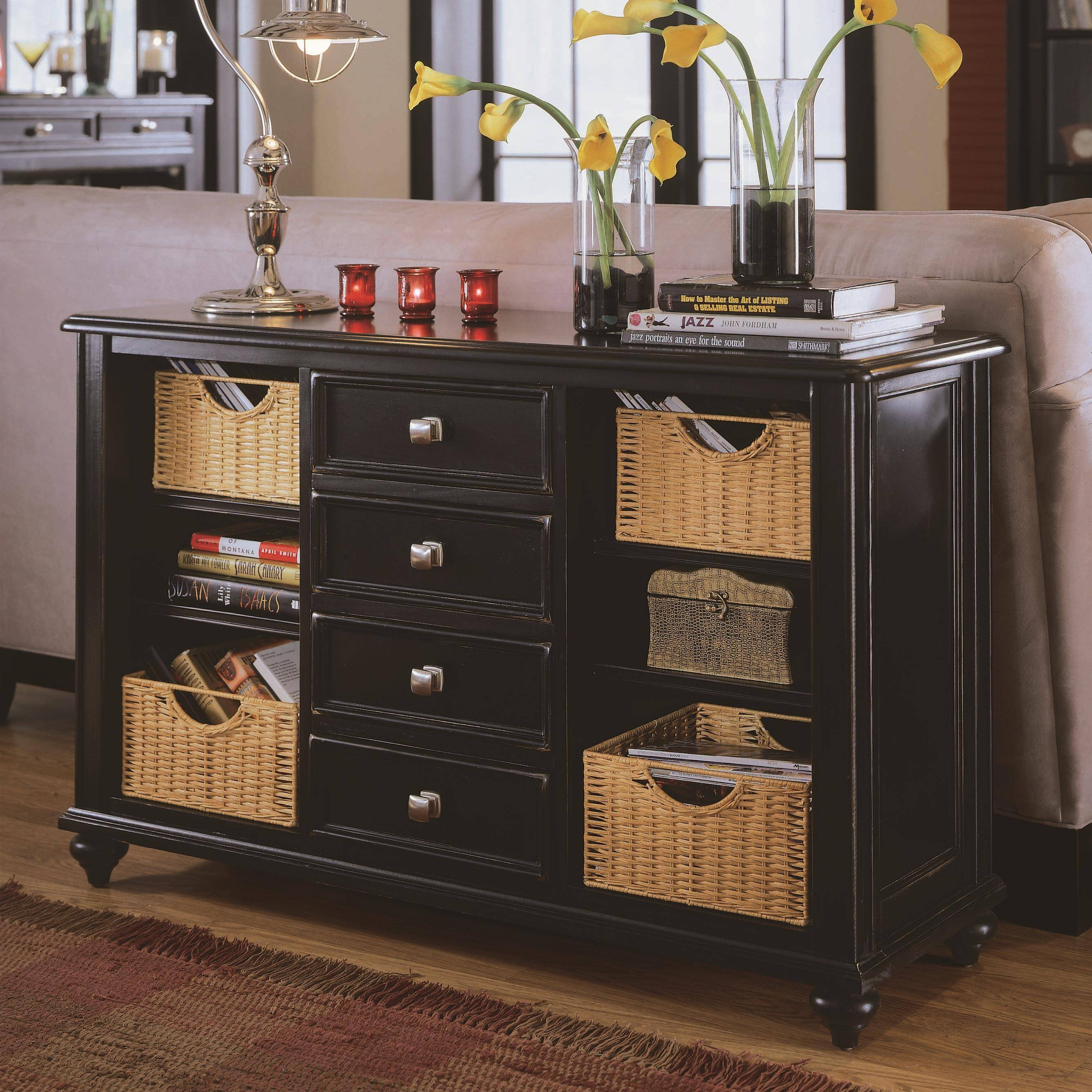 Console Table With 4 Drawers And 4 Basketsamerican Drew | Wolf in Sofa Table Drawers (Image 6 of 30)