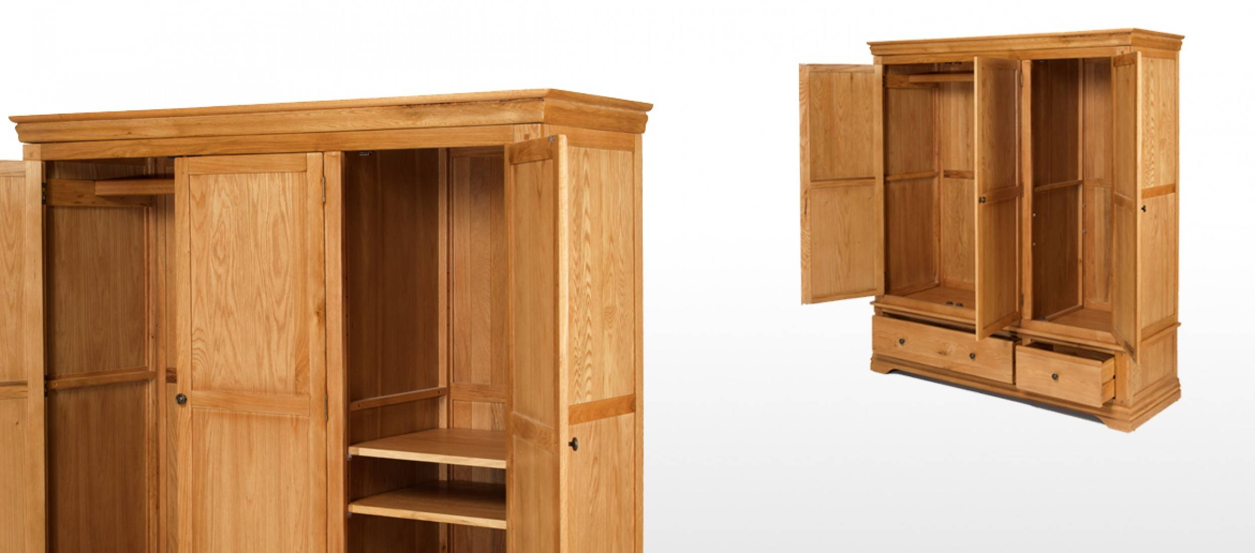 Constance Oak Triple Wardrobe With Drawers | Quercus Living with Oak Wardrobe With Drawers And Shelves (Image 14 of 30)